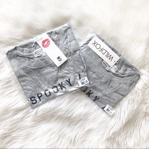 Wildfox Tops - Wildfox Spooky AF Heather Gray Tee